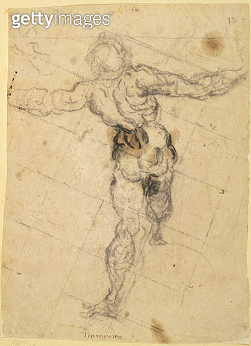 <b>Title</b> : Study of a Male Nude from Behind, c.1577 (charcoal on paper)<br><b>Medium</b> : charcoal on light brown paper<br><b>Location</b> : Hermitage, St. Petersburg, Russia<br> - gettyimageskorea