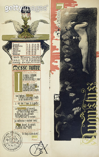 <b>Title</b> : The Black Mass, the month of August for a magic calendar published in 'Art Nouveau' review, 1896 (colour litho)<br><b>Medium</b> : <br><b>Location</b> : Private Collection<br> - gettyimageskorea