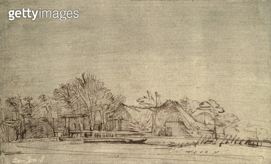 <b>Title</b> : Winter Landscape with Cottages among Trees, c.1650 (reed pen and brown ink)<br><b>Medium</b> : reed pen and brown ink on paper<br><b>Location</b> : Hermitage, St. Petersburg, Russia<br> - gettyimageskorea