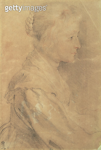 <b>Title</b> : Portrait of the Daughter of Balthasar Gerbier d'Ouvilly, 1629 (black and white chalk, sanguine, pen and ink)<br><b>Medium</b> : black and white chalk, sanguine, pen and ink<br><b>Location</b> : Hermitage, St. Petersburg, Russia<br> - gettyimageskorea