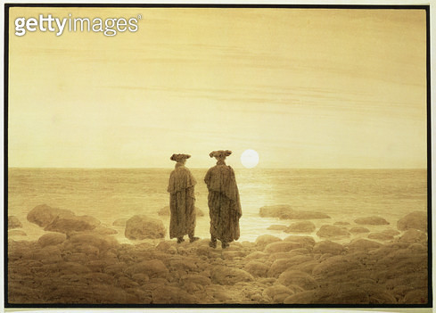 <b>Title</b> : Moonrise, 1835-7 (sepia wash over pencil)<br><b>Medium</b> : sepia wash over pencil<br><b>Location</b> : Hermitage, St. Petersburg, Russia<br> - gettyimageskorea