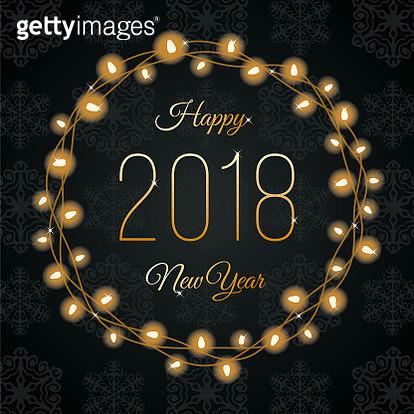 Happy New Year Lights Wreath. - gettyimageskorea