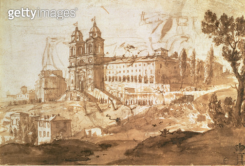 <b>Title</b> : View of the Church of S. Trinita dei Monti, Rome, c.1632 (pen and ink with brown wash)<br><b>Medium</b> : pen and ink with brown wash<br><b>Location</b> : Hermitage, St. Petersburg, Russia<br> - gettyimageskorea