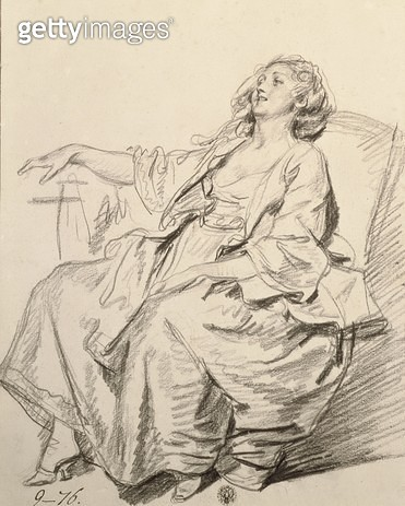 <b>Title</b> : Young Woman Sitting in an Armchair, c.1768-69 (black chalk)<br><b>Medium</b> : black chalk<br><b>Location</b> : Hermitage, St. Petersburg, Russia<br> - gettyimageskorea