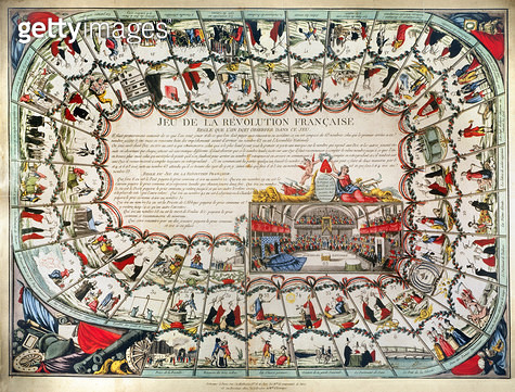 FRENCH GAME BOARD, 1791. /n'Game of the French Revolution,' created in 1791. The first player to go from the seizure of the Bastille (step 1) to the Assemblee Nationale (step 63) is the winner. - gettyimageskorea