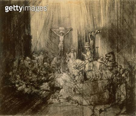 <b>Title</b> : Three Crucifixes, 1653 (etching)<br><b>Medium</b> : etching<br><b>Location</b> : Hermitage, St. Petersburg, Russia<br> - gettyimageskorea