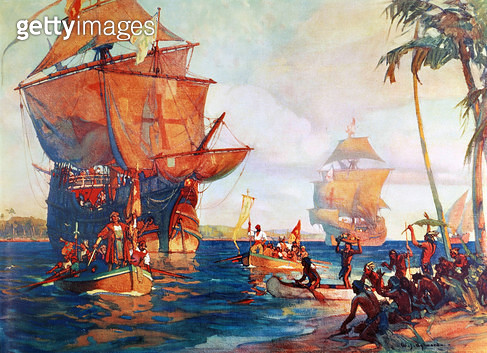 COLUMBUS: NEW WORLD, 1492. /nThe Landing of Columbus in the New World, 1492. Painting by William J. Aylward (b.1875). - gettyimageskorea