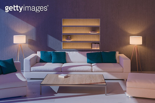 Moonlit Modern Living Room - gettyimageskorea