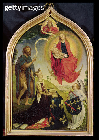 <b>Title</b> : Diptych of Jeanne de France, left panel depicting the Apocalyptic Madonna with St. John the Baptist and Jeanne de France (c.1435<br><b>Medium</b> : oil on panel<br><b>Location</b> : Musee Conde, Chantilly, France<br> - gettyimageskorea