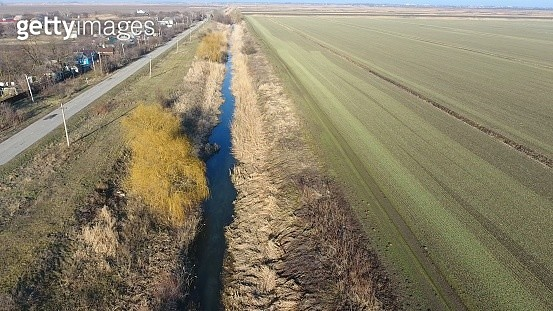 The Channel Of The Lower Level Of The Irrigation System Of Fields. Infrastructure For The... - gettyimageskorea