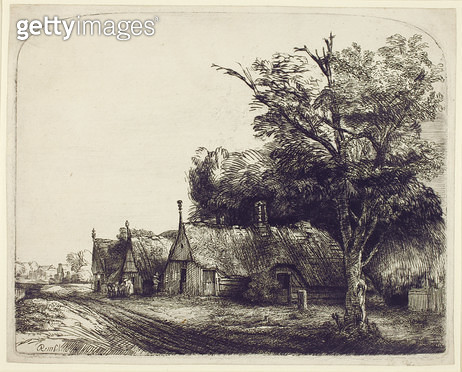 <b>Title</b> : Landscape with Gabled Cottages beside a Road, 1650 (etching & drypoint on paper)<br><b>Medium</b> : etching and drypoint on paper<br><b>Location</b> : UCL Art Collections, University College London, UK<br> - gettyimageskorea