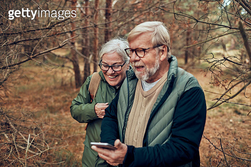 Senior Couple using a Phone - gettyimageskorea