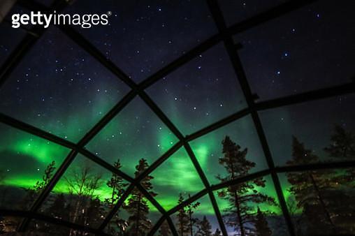 Northern lights (Aurora borealis) seen from Glass Igloos, Saariselka, Finland - gettyimageskorea