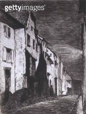 <b>Title</b> : Street in Saverne, 1858 (etching)<br><b>Medium</b> : etching in dark brown ink on pale blue backing<br><b>Location</b> : Hermitage, St. Petersburg, Russia<br> - gettyimageskorea