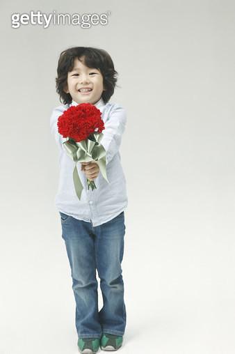 꽃다발을 들고있는 남자어린이 포트레이트 - gettyimageskorea