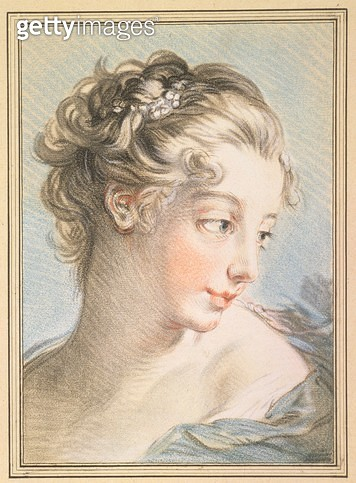 Young Woman/ engraved by Louis Marin Bonnet (1743-93)/ 1767 (colour engraving) - gettyimageskorea