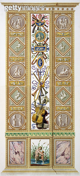 <b>Title</b> : Panel from the Raphael Loggia at the Vatican, engraved by Ioannes Volpato, c.1770 (copper plate engraving later hand coloured)Ad<br><b>Medium</b> : copper plate engraving later hand coloured<br><b>Location</b> : Private Collection<br> - gettyimageskorea