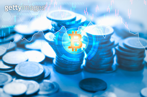 Bitcoins and New Virtual money  with Candle stick graph chart and digital  technology background - gettyimageskorea