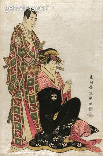 JAPAN: KABUKI ACTORS, 1794. /nThe actors Sawamura Sojuro and Segawa Kikunogo, one in the role of a woman, in costume for a kabuki play. Color woodcut by Toshusai Sharaku, 1794. - gettyimageskorea