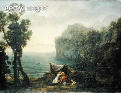 <b>Title</b> : Coastal landscape with Acis and Galatea, 1657 (oil on canvas)Additional InfoPolyphemus on RHS on rocks; Aura in cockle-shell boa<br><b>Medium</b> : oil on canvas<br><b>Location</b> : Gemaeldegalerie Alte Meister, Dresden, Germany<br> - gettyimageskorea
