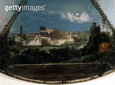 <b>Title</b> : Midnight at the Flavian Amphitheatre, detail from a tabletop depicting Days in Rome, by Michelangelo Barberi (1787-1867), Rome,<br><b>Medium</b> : mosaic in smalto<br><b>Location</b> : Hermitage, St. Petersburg, Russia<br> - gettyimageskorea