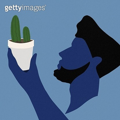 gardening, plant, plants, cactus, take care, tiny plant, man, woman, shade - gettyimageskorea