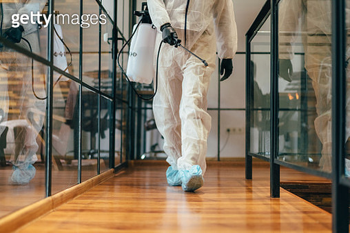 Office disinfection during COVID-19 pandemic,stopping the spread of the virus - gettyimageskorea