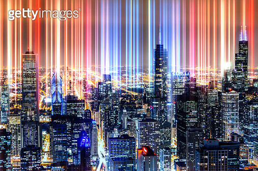 Technologic bright city lights emerging from Chicago downtown at night. - gettyimageskorea