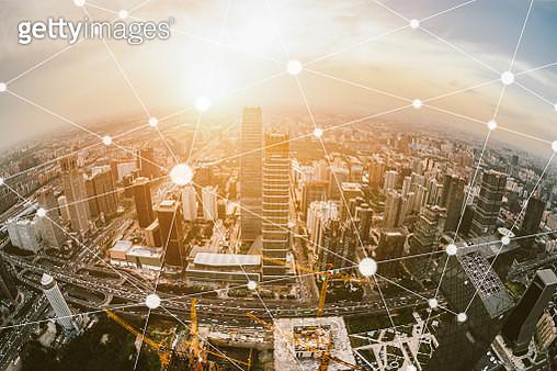 Aerial  and Fisheye View of Beijing Skyline - gettyimageskorea