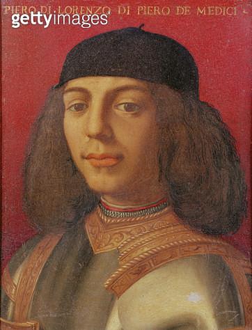 <b>Title</b> : Portrait of Piero di Lorenzo de Medici (oil on panel)Additional InfoPiero di Lorenzo de Medici (1471-1503); Lord of Florence;<br><b>Medium</b> : <br><b>Location</b> : Private Collection<br> - gettyimageskorea