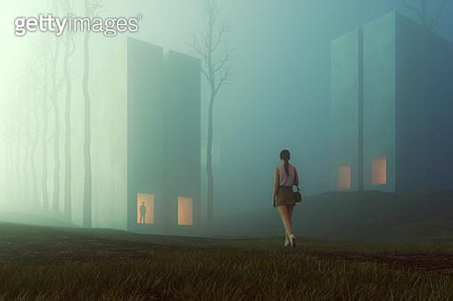 Surreal dark buildings in the forest - gettyimageskorea