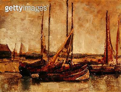 <b>Title</b> : Fishing Boats (oil on card on board)Additional InfoBateaux de Peche;<br><b>Medium</b> : oil on card on board<br><b>Location</b> : Private Collection<br> - gettyimageskorea
