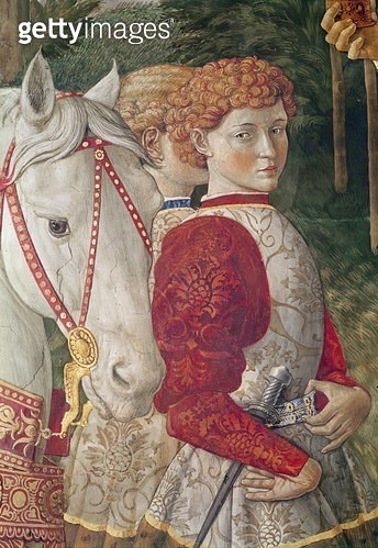 <b>Title</b> : Two Liveried Attendants and the head of Lorenzo the Magnificent's Horse, detail from the Journey of the Magi cycle in the chapel<br><b>Medium</b> : <br><b>Location</b> : Palazzo Medici-Riccardi, Florence, Italy<br> - gettyimageskorea