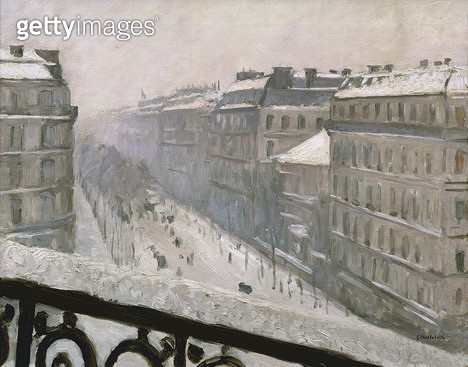 <b>Title</b> : Boulevard Haussmann in the Snow, 1879 or 1881 (oil on canvas)<br><b>Medium</b> : oil on canvas<br><b>Location</b> : Private Collection<br> - gettyimageskorea