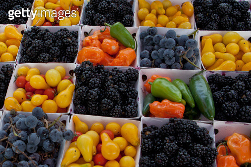 Baskets of blackberries,tomatoes,peppers,grapes - gettyimageskorea
