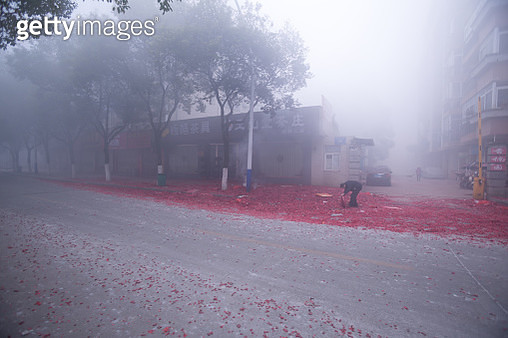 firecrackers for celebrating the Chinese New Year and cost a lot of dust and haze pollution. - gettyimageskorea