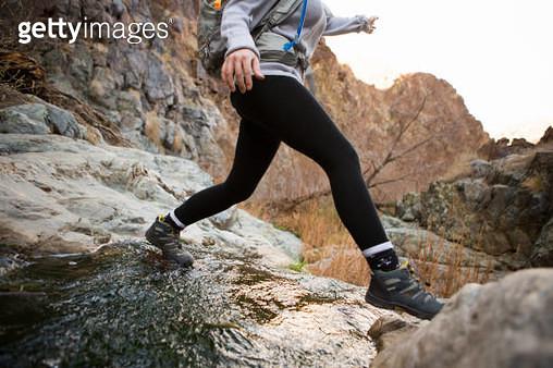 Trekker running in Death Valley National Park, California, US - gettyimageskorea