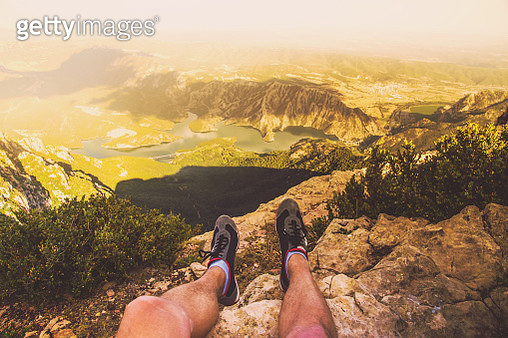 Beautiful views taken from personal perspective of the mountain summit on sunset with the Catalan Pyrenees during a summer trip. - gettyimageskorea
