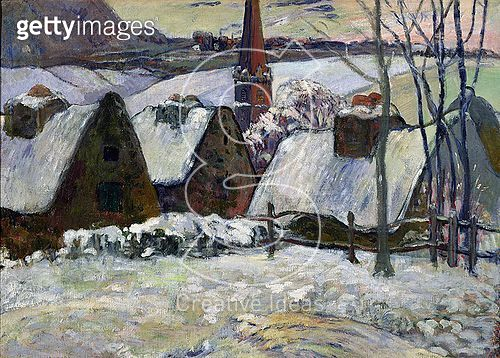 <b>Title</b> : Breton village under snow, 1894 (oil on canvas)<br><b>Medium</b> : oil on canvas<br><b>Location</b> : Musee d'Orsay, Paris, France<br> - gettyimageskorea