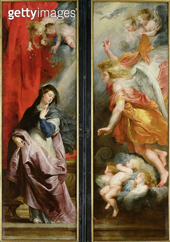 <b>Title</b> : The Annunciation, from the reverse of the Triptych of the Martyrdom of St. Stephen, c.1617 (oil on panel)<br><b>Medium</b> : oil on panel<br><b>Location</b> : Musee des Beaux-Arts, Valenciennes, France<br> - gettyimageskorea