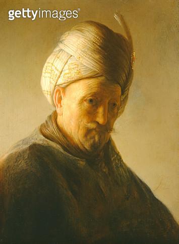 <b>Title</b> : Portrait of a man in a turban, c.1630 (panel)<br><b>Medium</b> : oil on panel<br><b>Location</b> : Noortman, Maastricht, Netherlands<br> - gettyimageskorea