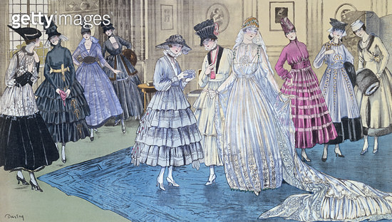 <b>Title</b> : A 'Fete Parisienne' Wedding Party in New York, fashion plate with designs by Premet, Jenny, Lanvin, Worth and Paquin, 1916 (colo<br><b>Medium</b> : colour lithograph<br><b>Location</b> : Private Collection<br> - gettyimageskorea