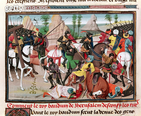 <b>Title</b> : Ms 5089-90 The Battle between King Baldwin I (c.1058-1118) and the Turks, from 'Chroniques des empereurs' by David Aubert, 1462<br><b>Medium</b> : <br><b>Location</b> : Bibliotheque de L'Arsenal, Paris, France<br> - gettyimageskorea
