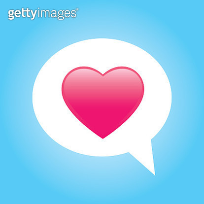 Vector illustration of a a cute pink heart on in a white speech bubble on a light blue background. - gettyimageskorea