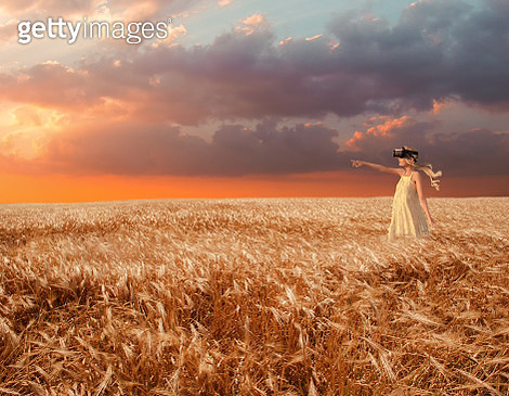 Girl in the wheat field with virtual reality headset - gettyimageskorea