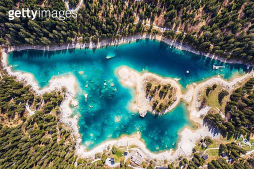 Top down view of the lake Cauma near Flims in Canton Graubünden in Switzerland - gettyimageskorea