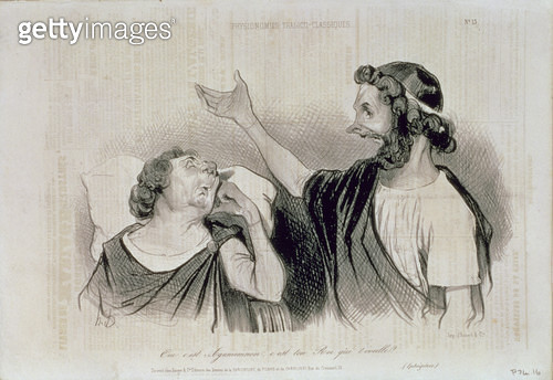 <b>Title</b> : Physiognomy of the Characters of Classical Tragedy; Yes, it is Agamemnon your king who awakens you! from 'Charivari' magazine, p<br><b>Medium</b> : <br><b>Location</b> : Central Saint Martins College of Art and Design, London<br> - gettyimageskorea