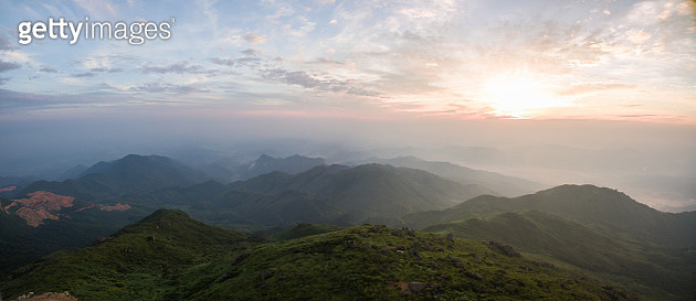 Mountain near sunrise aerial view - gettyimageskorea