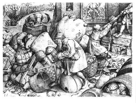 <b>Title</b> : Everyman, engraved by Hieronymus Cock (c.1510-70) c.1558 (engraving) (b/w photo)<br><b>Medium</b> : engraving<br><b>Location</b> : Private Collection<br> - gettyimageskorea