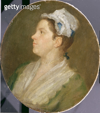 <b>Title</b> : Anne Hogarth (1701-71), c.1740 (oil on canvas) (pre-conservation) (see 174878)<br><b>Medium</b> : oil on canvas<br><b>Location</b> : <br> - gettyimageskorea